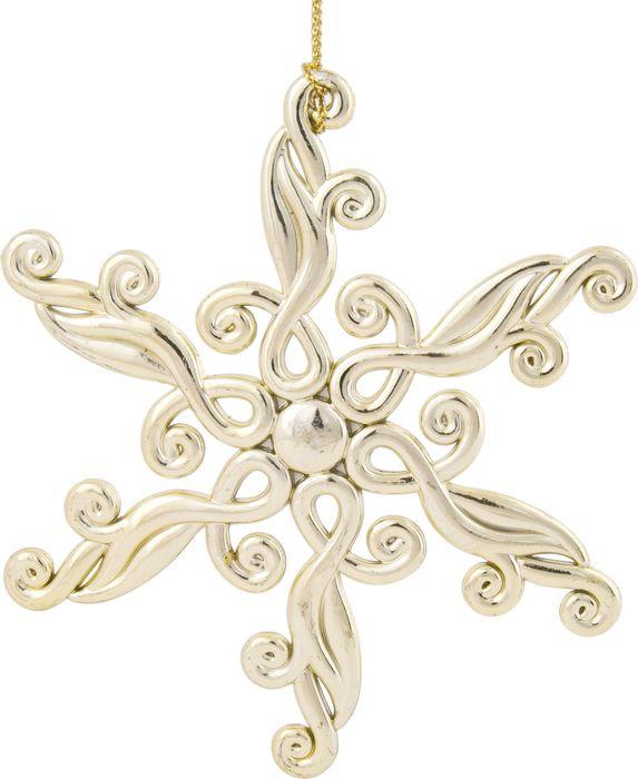 Новогоднее подвесное елочное украшение Magic Time Снежинка блестящая в золоте, 11,5 x 11,5 x 0,3 см украшение елочное подвеска блестящая крошка 2 шт в прозрачном пакете 8 см 4 цв белый красны