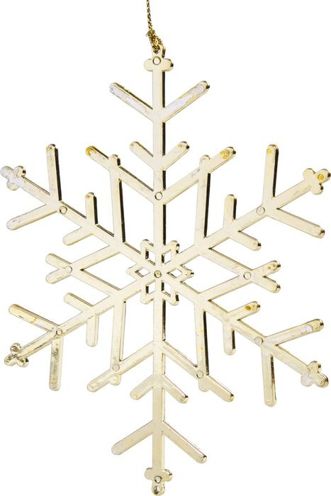 Фото - Новогоднее подвесное елочное украшение Magic Time Льдинка, цвет: золотой, 15 x 15 x 0,2 см новогоднее подвесное елочное украшение magic time подарок цвет золотой 8 x 8 5 x 0 2 см