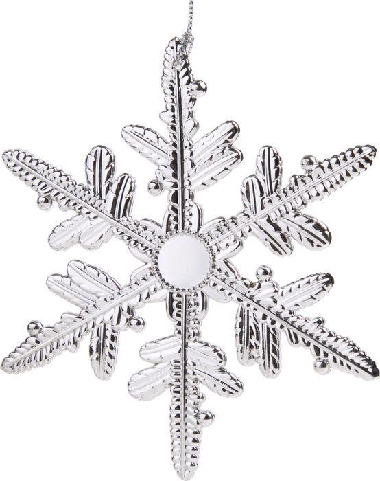 Новогоднее подвесное елочное украшение Magic Time Пушинка, цвет: серебряный, 13,5 x 13,5 x 0,2 см новогоднее подвесное елочное украшение magic time сердце цвет серебряный 10 5 x 9 5 x 0 3 см