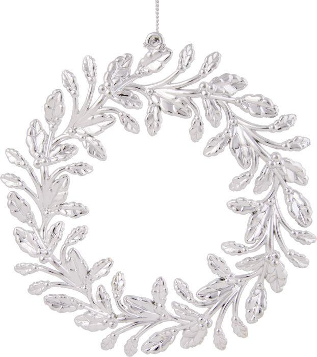 Новогоднее подвесное елочное украшение Magic Time Венок, цвет: серебряный, 13,5 x 13,5 x 0,2 см новогоднее подвесное украшение magic time венок цвет белый диаметр 12 7 см