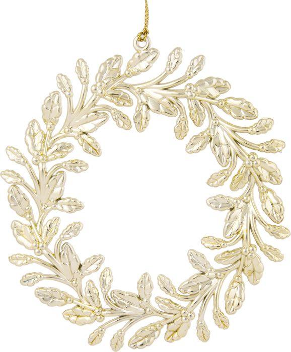 Новогоднее подвесное елочное украшение Magic Time Венок, цвет: золотой, 13,5 x 13,5 x 0,2 см новогоднее подвесное украшение magic time венок цвет белый диаметр 12 7 см