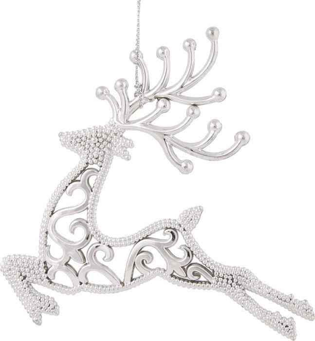 Фото - Новогоднее подвесное елочное украшение Magic Time Олень, цвет: серебряный, 13 x 13,5 x 0,3 см новогоднее подвесное елочное украшение magic time подарок цвет золотой 8 x 8 5 x 0 2 см