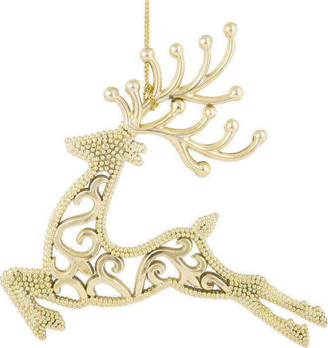 Фото - Новогоднее подвесное елочное украшение Magic Time Олень, цвет: золотой, 13 x 13,5 x 0,3 см новогоднее подвесное елочное украшение magic time подарок цвет золотой 8 x 8 5 x 0 2 см