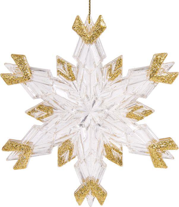 Новогоднее подвесное елочное украшение Magic Time Снежинка с золотом, 11,5 х 2,1 х 11 см новогоднее подвесное елочное украшение magic time бантик цвет золотой 9 х 9 х 1 см