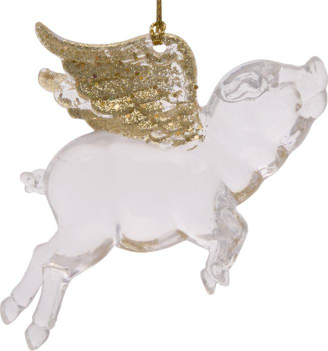 Новогоднее подвесное елочное украшение Magic Time Свинка с крыльями, 11,5 х 7,5 х 3 см новогоднее подвесное елочное украшение magic time бантик цвет золотой 9 х 9 х 1 см