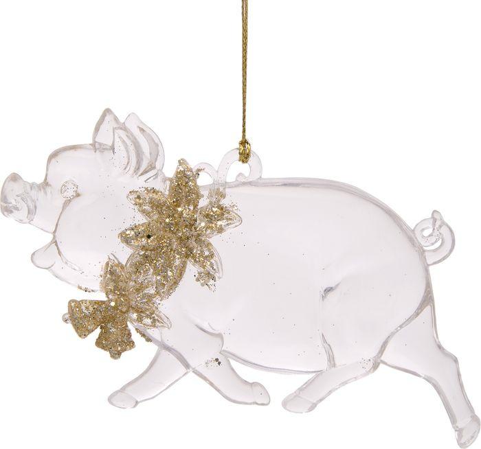 Новогоднее подвесное елочное украшение Magic Time Свинка с цветочками, 1 х 12,7 х 7,5 см новогоднее подвесное елочное украшение magic time бантик цвет золотой 9 х 9 х 1 см