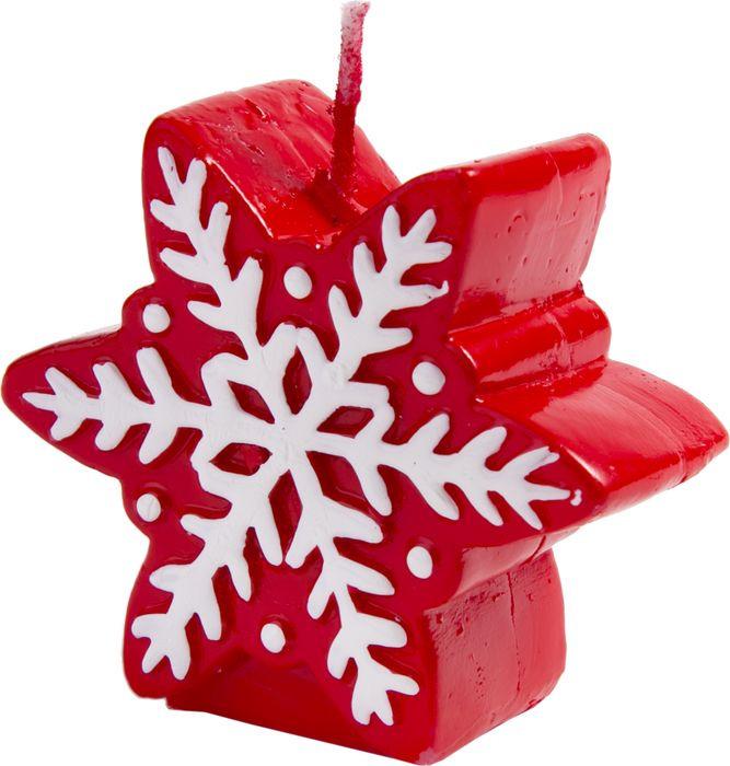 Свеча новогодняя Magic Time Красная снежинка. 7831478314Новогодняя свеча станет изысканным дополнением обстановки в доме, а также отличной идеей подарка. Свечка, с уникальным праздничным дизайном, создает уютное, теплое настроение, наполняя дом чарующей атмосферой праздника. Новогодняя свеча Красная снежинка из парафина / 6.8х3.2х6см арт.78314