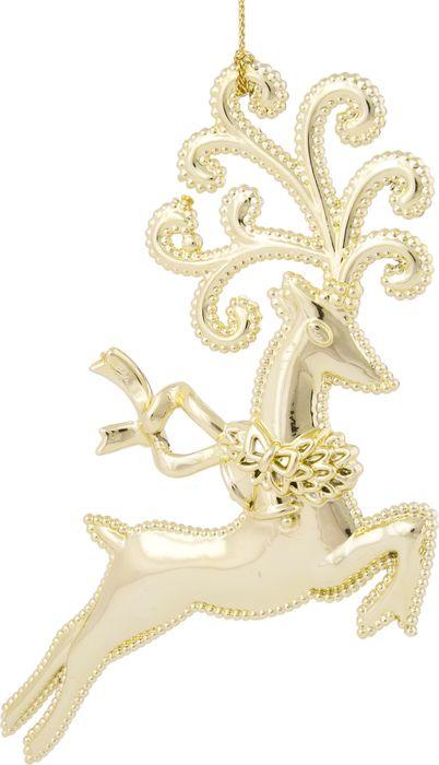 Фото - Новогоднее подвесное елочное украшение Magic Time Косуля, цвет: золотой, 12 x 10,8 x 1,5 см новогоднее подвесное елочное украшение magic time подарок цвет золотой 8 x 8 5 x 0 2 см