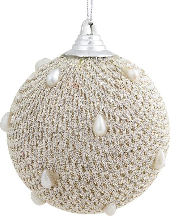 Новогоднее подвесное украшение Magic Time Светлый шар с белыми бусинами, 8 см новогоднее подвесное украшение елочный шар цвет золотистый 25110