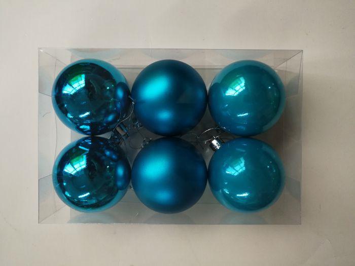 """Набор новогодних подвесных украшений Magic Time """"Бирюзовые шары"""", диаметр 6 см, 6 шт"""