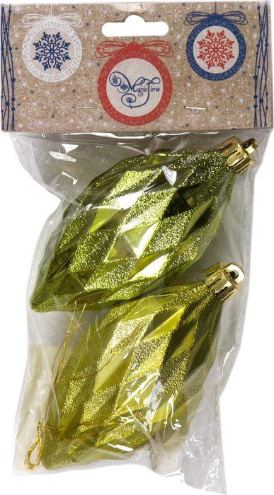 Набор новогодних подвесных украшений Magic Time Еловые шишки, цвет: лимонный, 5 х 10 см, 2 шт еловые шишки magic home