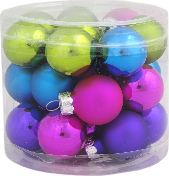 Новогоднее подвесное украшение Magic Time Шар, цвет: фуксия, 2,5 см, 24 шт украшение сима ленд набор шаров звёзды и подарки 19шт 1400075