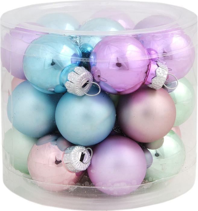 Новогоднее подвесное украшение Magic Time Шар, цвет: розовый, 2,5 см, 24 шт украшение сима ленд набор шаров звёзды и подарки 19шт 1400075