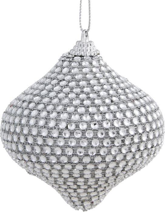 Новогоднее подвесное украшение Magic Time Серебристый подвес, украшенный стразами, 8 см украшение новогоднее подвесное magic time морозная звезда 8 см