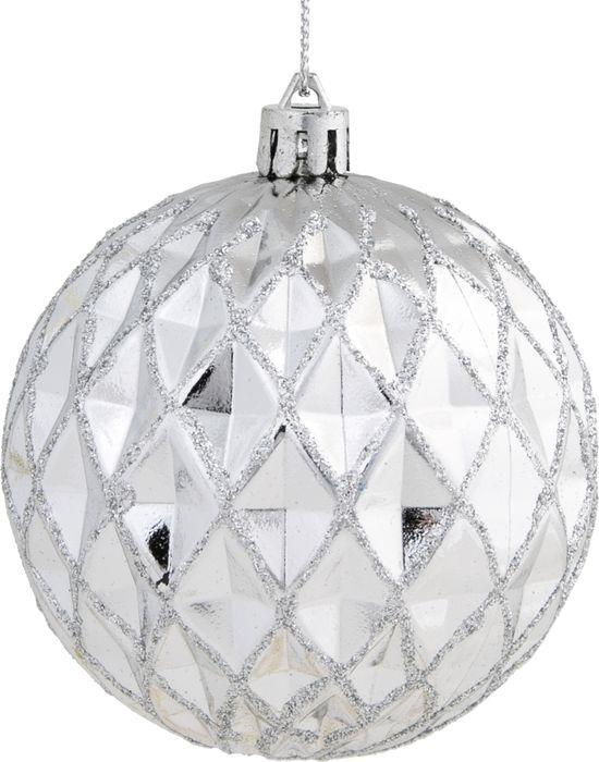 Новогоднее подвесное украшение Magic Time Фактурный шар с серебристым глиттером, 8 см новогоднее подвесное украшение елочный шар цвет золотистый 25110