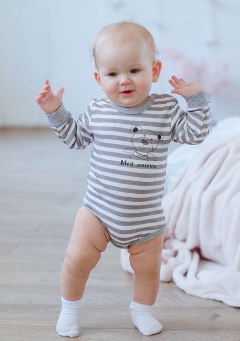 Боди Лапушка боди для новорожденных лапушка мой мишка цвет серый мм014и размер 56 86