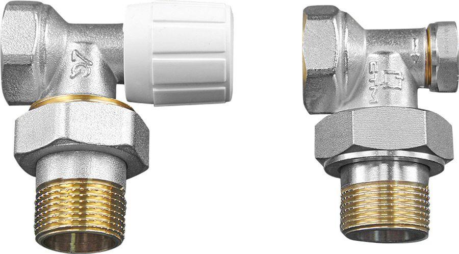 """Комплект ручной регулировки для радиатора Aqualink 1/2"""", угловой: клапан ручной, клапан запорный, MP"""