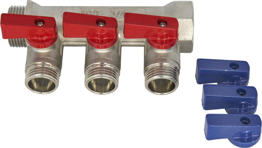 Коллектор с отсекающими кранами MasterProf, 3 выходной, х 3/4 х 1/2, с наружной резьбой, MP-У набор комплектующих для радиатора masterprof с тремя кронштейнами 1 х 3 4