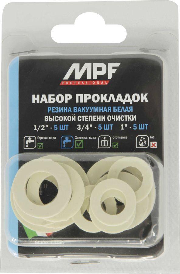 Набор прокладок MasterProf, белая резина, 1/2, 3/4, 1, 15 шт, MP-У прокладка силиконовая masterprof 1 2 100 шт mp пакет