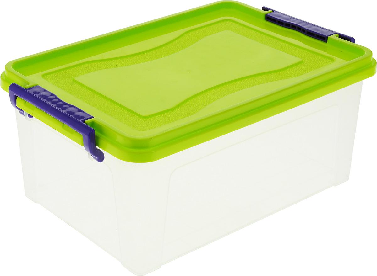 Контейнер для хранения Idea, прямоугольный, цвет: салатовый,фиолетовый прозрачный, 8,5 л контейнер для хранения idea прямоугольный цвет салатовый прозрачный 8 5 л