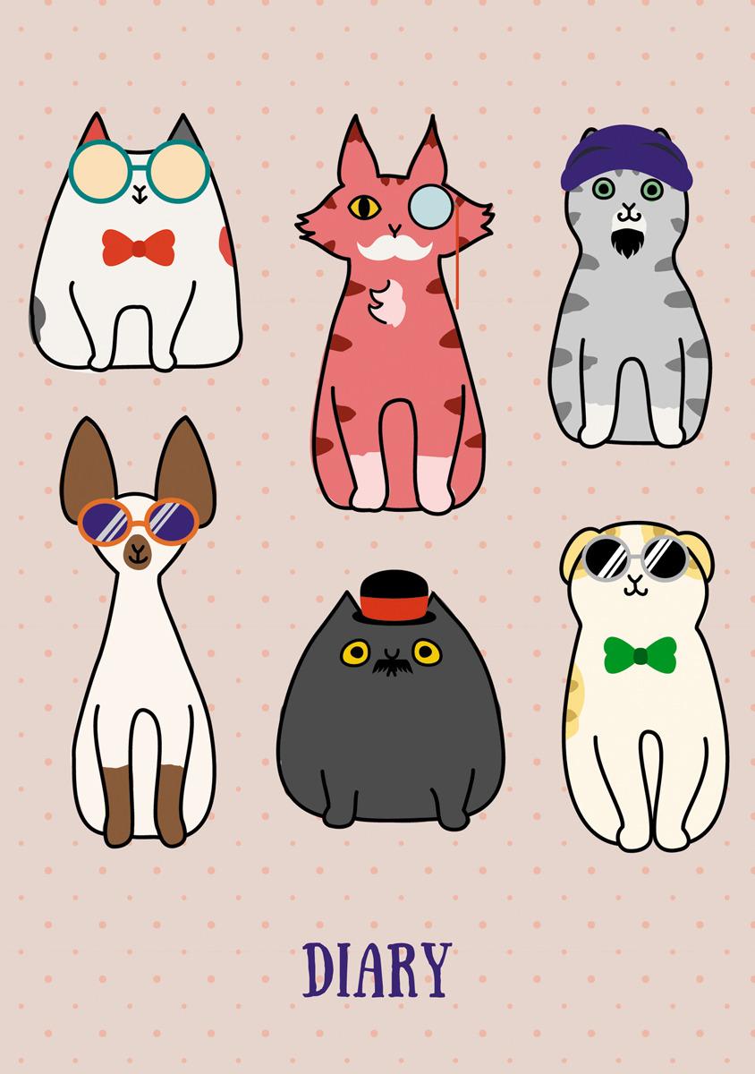 Ежедневник Listoff Всюду кошки. Дизайн 2, 128 листов, формат А5 ежедневник listoff графика стиль и цвет а5 128 листов