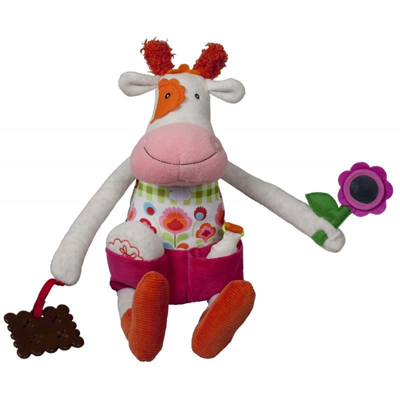 """Развивающая игрушка Ebulobo """"Коровка Молли"""", цвет: белый, розовый, 45 см"""