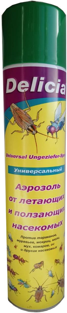 Аэрозоль универсальный Delicia от летающих и ползающих насекомых, 400 мл. 0708-165 аэрозоль от ползающих и летающих насекомых raid лаванда 300 мл