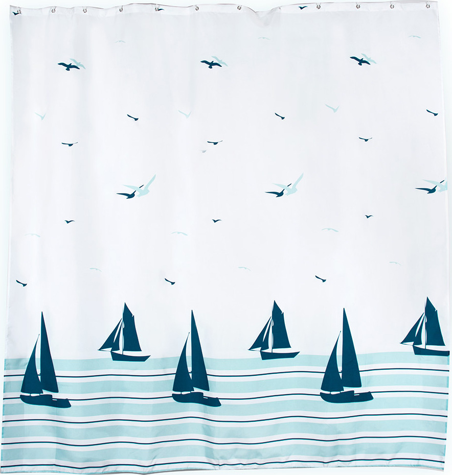 Штора для ванной Verran Barca, цвет: белый, 180 х 180 см кольца для шторки в ванной verran цвет белый 682 10