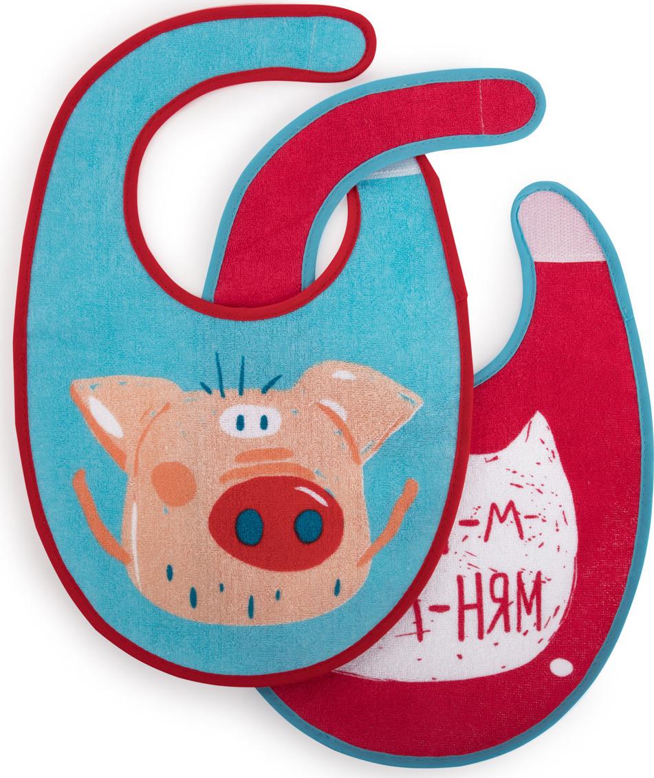 Набор нагрудных фартуков Happy Baby, от 3 месяцев, 2 шт. 16012 pig недорого