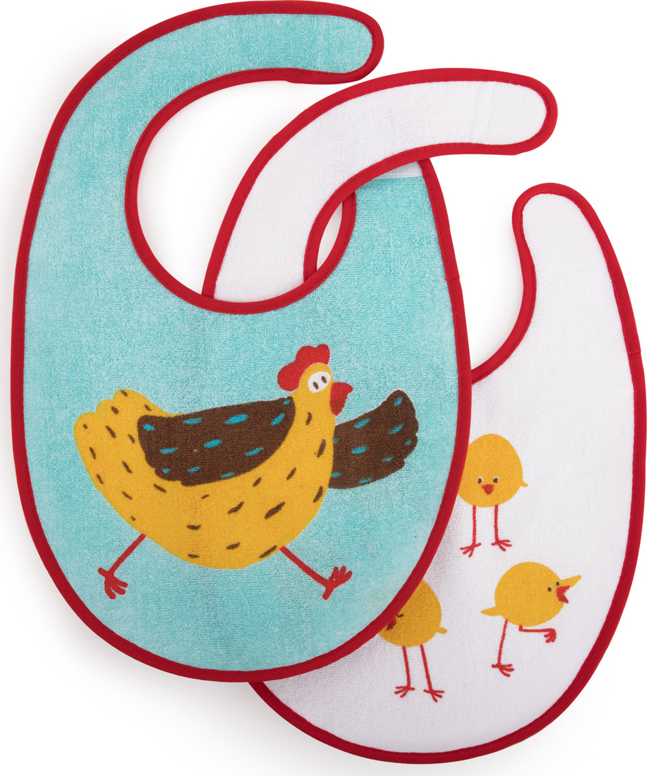 Набор нагрудных фартуков Happy Baby, от 3 месяцев, 2 шт. 16012 chicken хэппи беби happy baby набор нагрудных фартуков звезда арт 16010