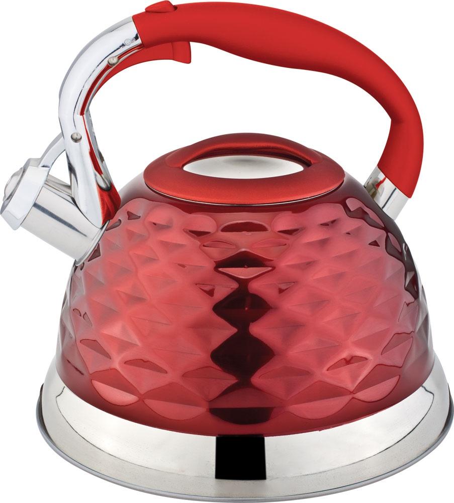 Чайник RAINSTAHL 7634-27RS\WK/КРАСНЫЙ, Нержавеющая сталь чайник rainstahl со свистком цвет белый 2 7 л 7642 27rs wk