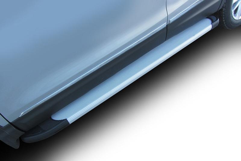 аксессуары для автомобиля Комплект защиты штатных порогов Arbori Optima Silver, алюминиевый профиль, 2000, для Volkswagen Amarok 2016-
