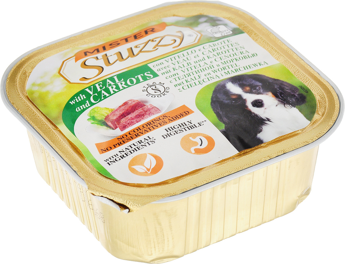 """Консервы Stuzzy """"Mister"""", для собак, с телятиной и морковью, 150 г"""