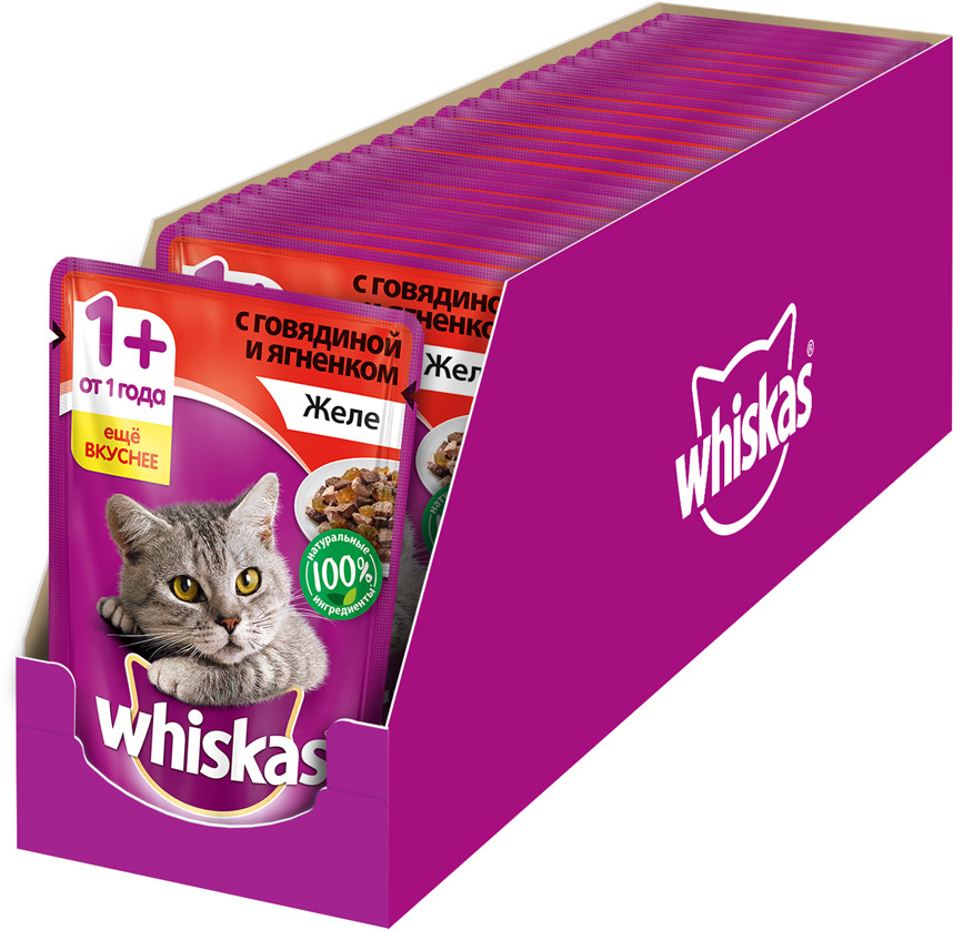 """Консервы """"Whiskas"""" для кошек от 1 года, желе с говядиной и ягненком, 85 г х 24 шт"""