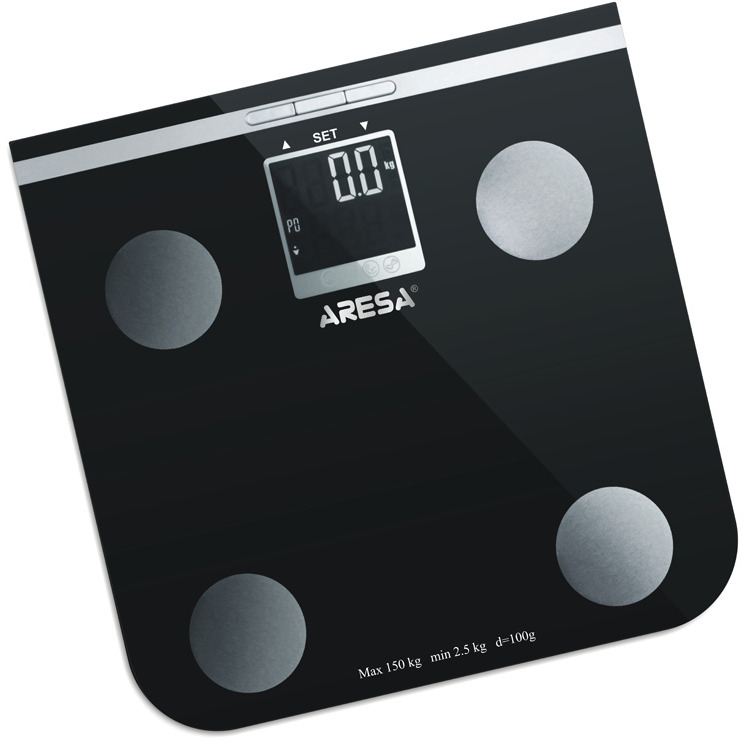 Весы напольные Aresa AR-306, электронныеУТ000000370Напольные электронные весы Aresa SB-306 - неотъемлемый атрибут здорового образа жизни. Измеряет уровень жира, воды, мышечной и костной массы. Функция памяти на 10 пользователей. Они необходимы тем, кто следит за своим здоровьем, весом, ведет активный образ жизни, занимается спортом и фитнесом. Очень удобны для будущих мам, постоянно контролирующих прибавку в весе, также рекомендуются родителям, внимательно следящим за весом своих детей. Минимальная нагрузка: 2,5 кг Рекомендуем!
