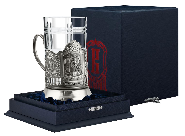 Набор для чая Кольчугинъ Высоцкий, никелированный с чернением, футлярНБ82527вПодстаканник, изготовлен из латуни и покрыт гальваническим способом никелем, стакан хрустальный, объем стакана 250 мл. Набор упакован в подарочный футляр.