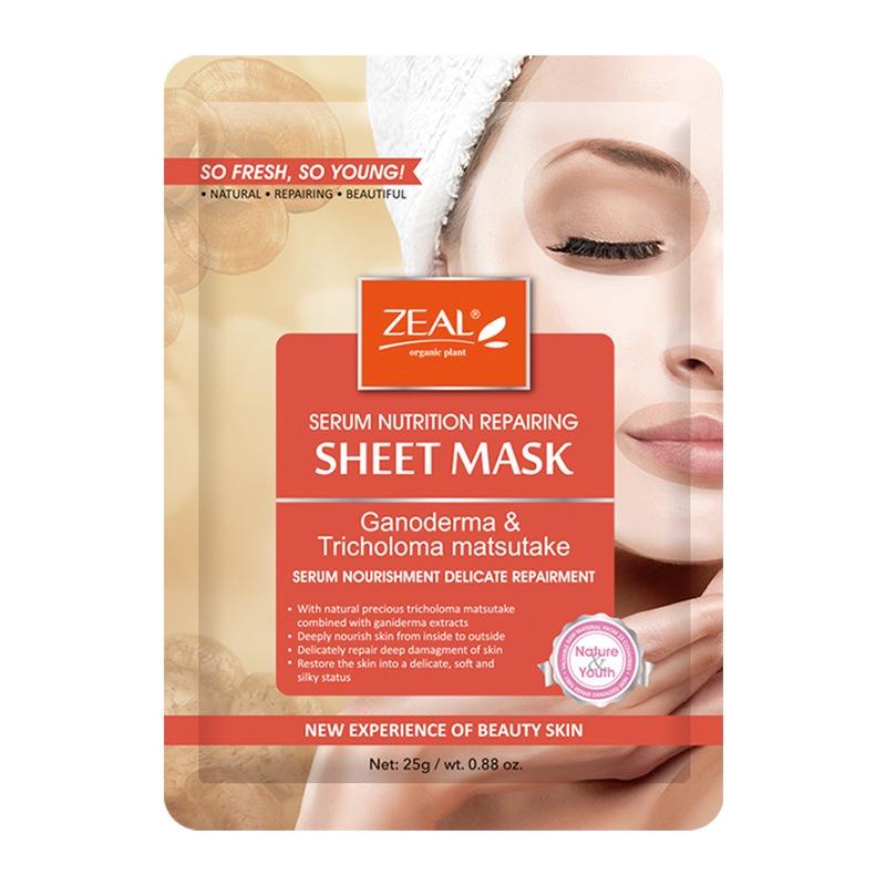Тканевая маска для лица комплексное питание и восстановление с ганодермой и мацутакэ ZEAL