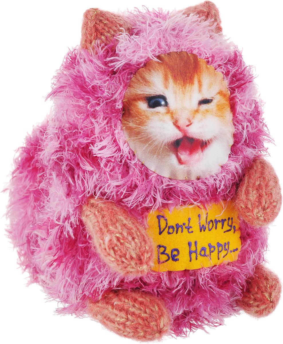 "Мягкая игрушка Бюро находок ""Котик. Don't Worry, Be Happy…"", ASH215, розовый, 15 см"