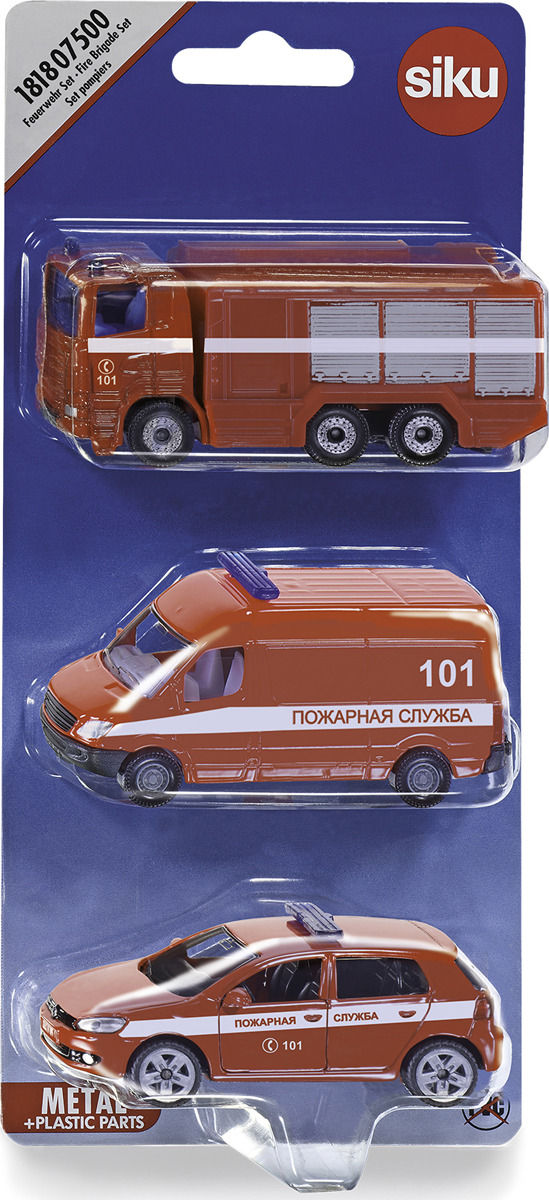 Набор машинок Siku Пожарная служба. 1818RUS набор машинок siku скорая помощь