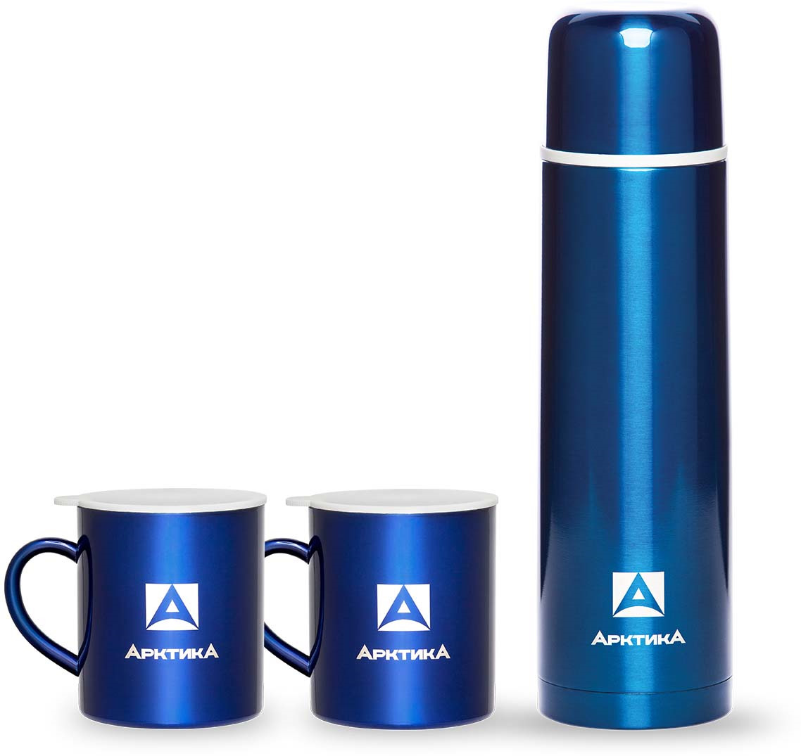 Набор Арктика: термос 1 л, две термокружки с крышкой по 300 мл, цвет: синий, 1 л. 102-1000S
