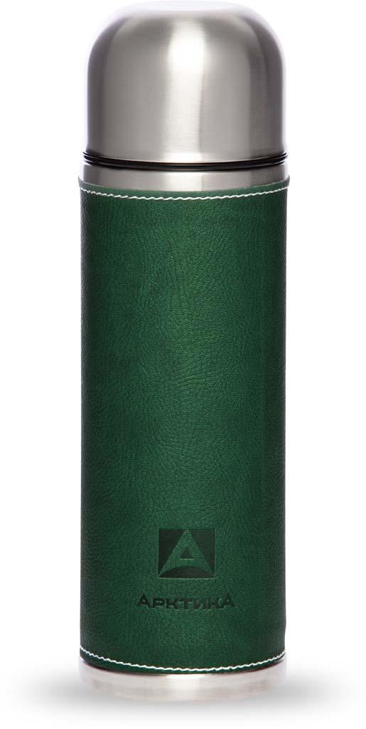 Термос Арктика, с пробкой-кнопкой, в коже, цвет: зеленый, 700 мл. 108-700