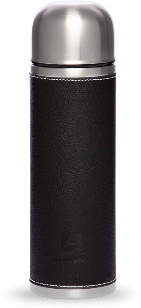 Термос Арктика, с пробкой-кнопкой, в коже, цвет: черный, 1 л. 108-1000