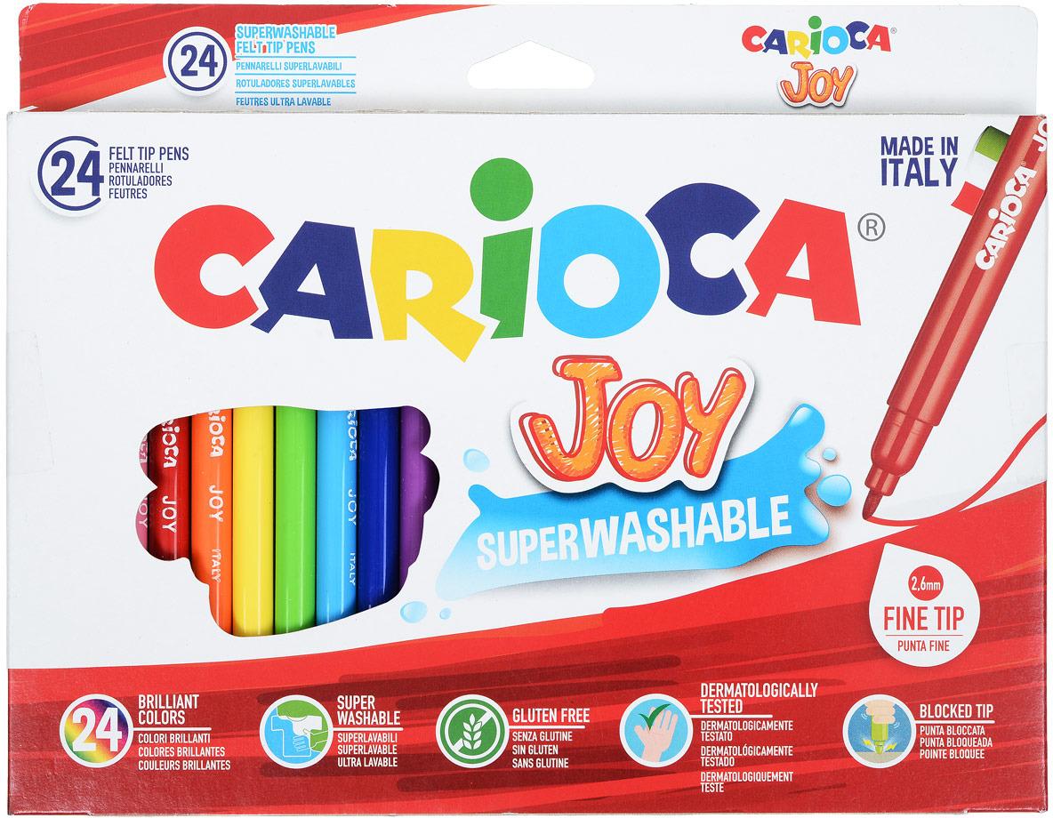 Набор суперсмываемых фломастеров CARIOCA JOY, 24 цв., в картонной коробке carioca набор фломастеров carioca joy 60 цв в чемоданчике картонном