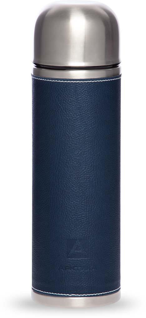 Термос Арктика, с пробкой-кнопкой, в коже, цвет: синий, 1 л. 108-1000 цена