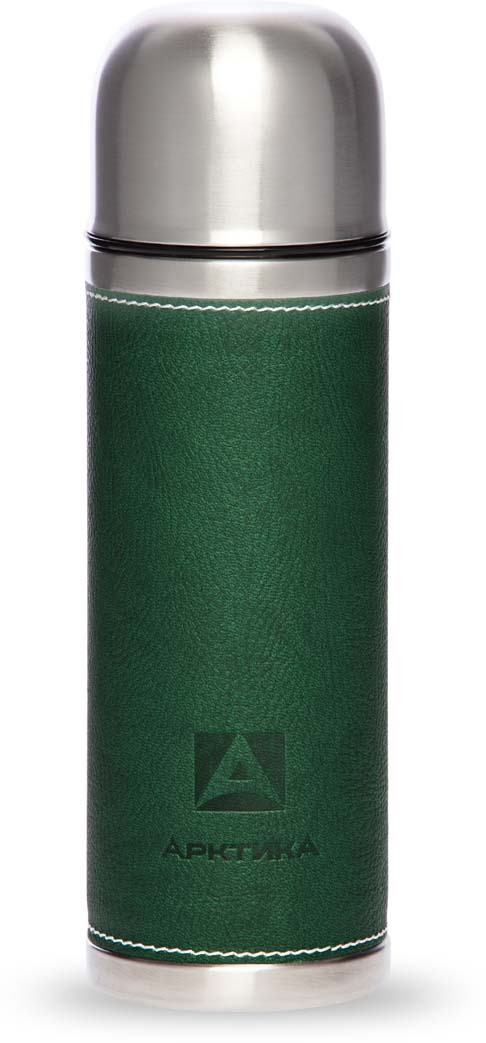 Термос Арктика, с пробкой-кнопкой, в коже, цвет: зеленый, 500 мл. 108-500