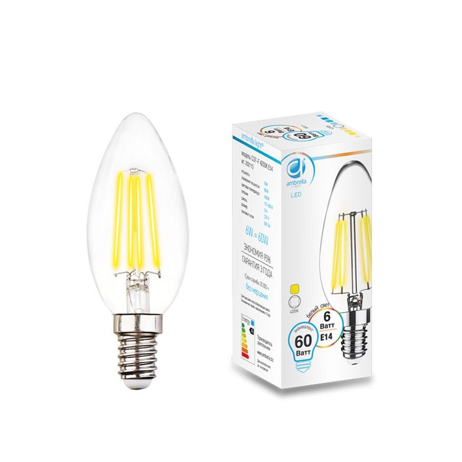 Лампочка Ambrella light Свеча, 6W, E14, 4200K для офиса товары