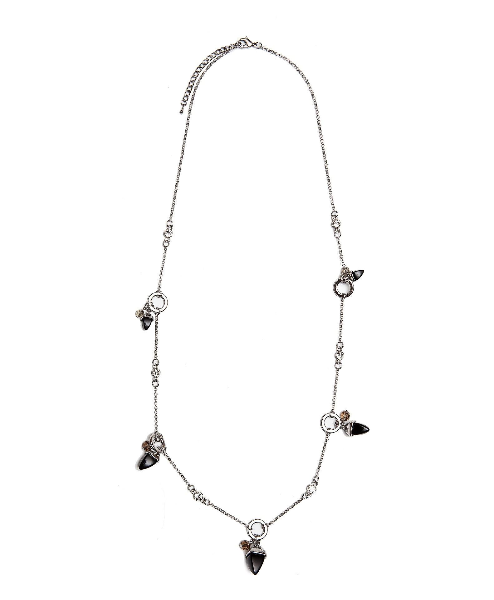 Колье Aiyony Macie, NC710018, серебряный, черныйNC710018Длина 79+5см., 90 см., ширина 1,4+2,8 см., украшение 2,3 х 2,3 см. Состав: агат, сплав на основе латуни