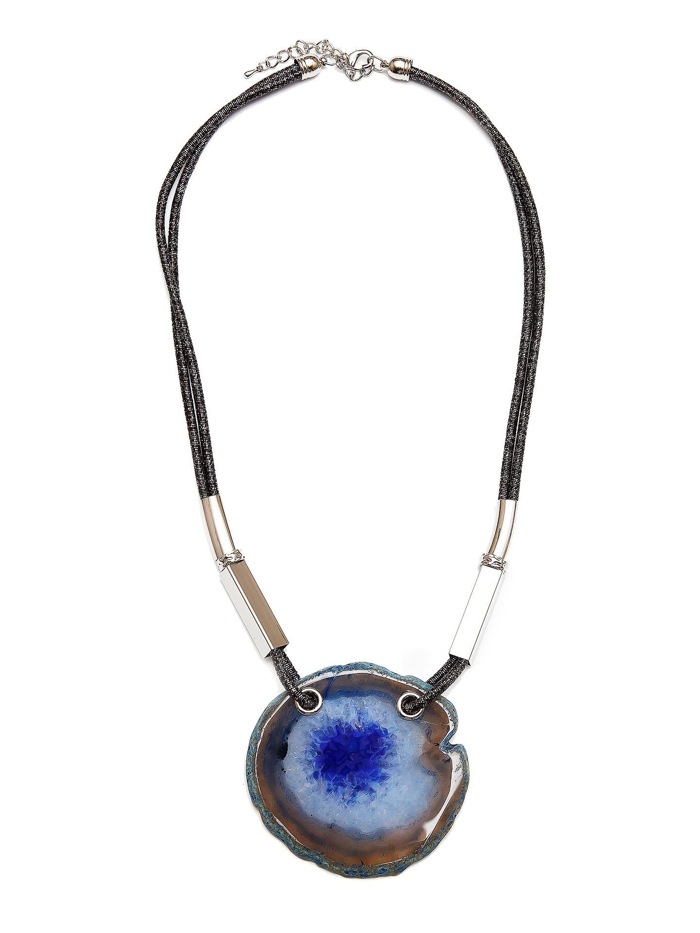 Колье Aiyony Macie, NC710078, черный, серебряный, синийNC710078Длина 64+6 см., ширина 0,8 см., украшение 8 х 7 см., цвет и размер украшения может отличаться, по причине натурального происхождения камня. Состав: агат, текстиль, сплав на основе латуни.