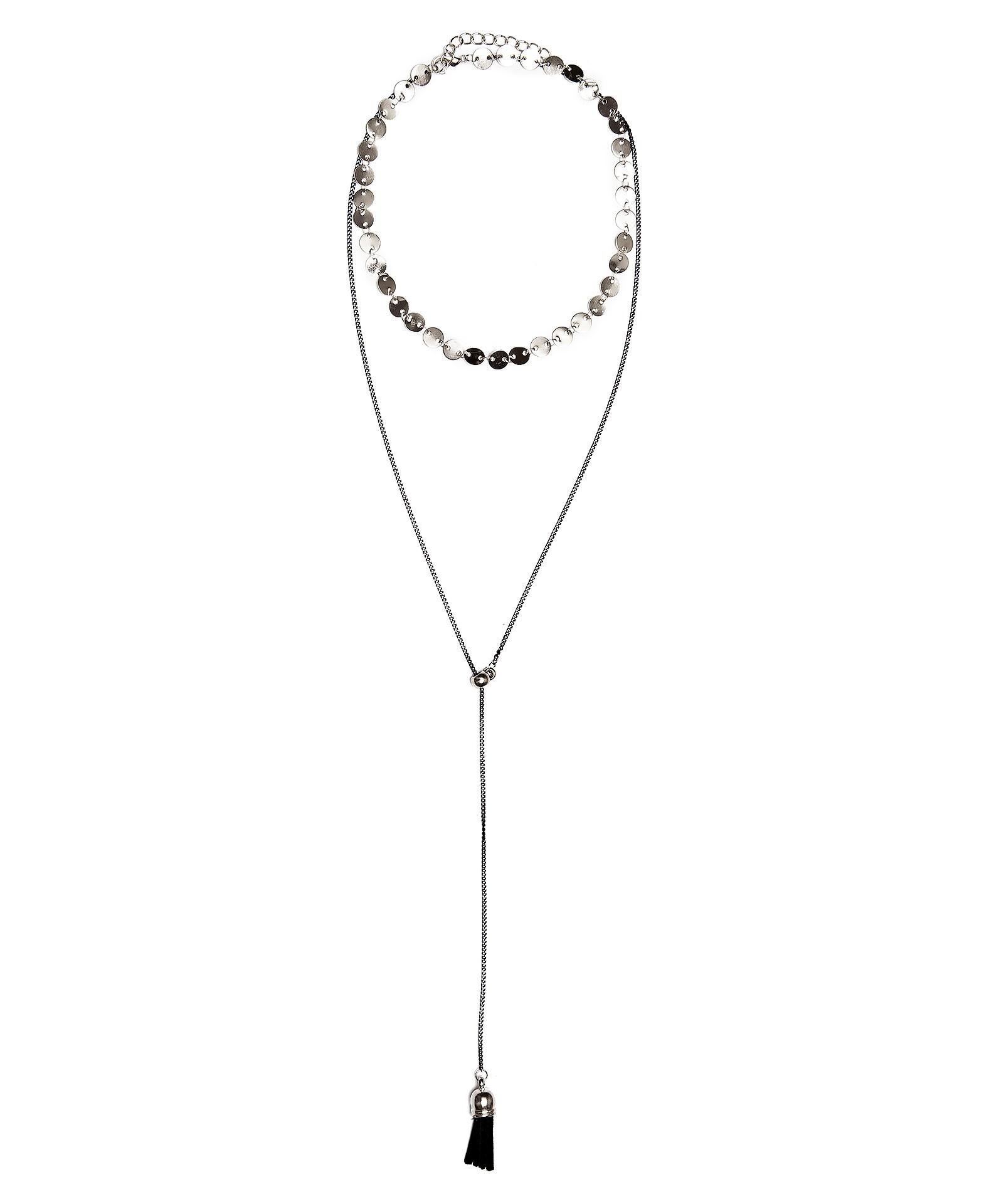 Колье Aiyony Macie, NC800125, серебряныйNC800125Размер 31+4 х 07 см, размер украшения 38 х 0,8 см. Состав: сплав на основе латуни, текстиль