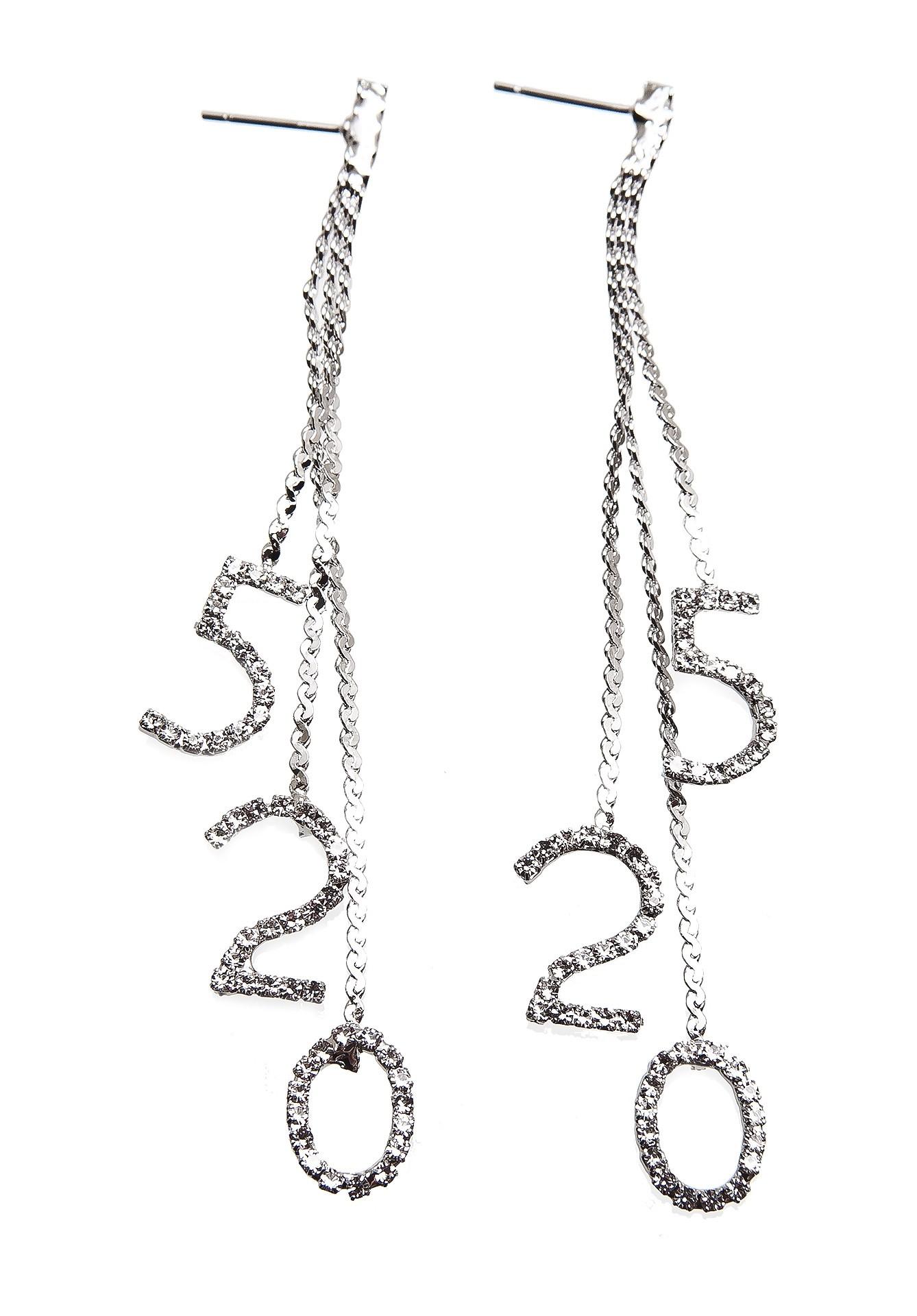 Серьги Aiyony Macie, ER802115, серебряныйER802115Размер 8,8 х 1 см. Состав: стразы, сплав на основе латуни